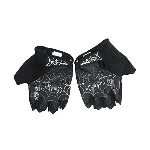 MonkeyJack Sports Racing Cycling Gloves Motorcycle MTB Bike Bicycle Gel Padded Half Finger Gloves M/L/XL - Black, XL