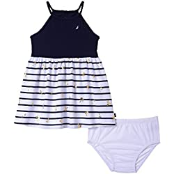 Nautica Baby Girls Spaghetti Strap Fashion Dress, Navy foil Palm Tree, 12 Months