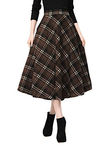Plaid Apparel School Skirt (IDEALSANXUN Womens High Elastic Waist Maxi Skirt A-line Plaid Winter Warm Flare Long Skirt (Small, 2 Coffee))