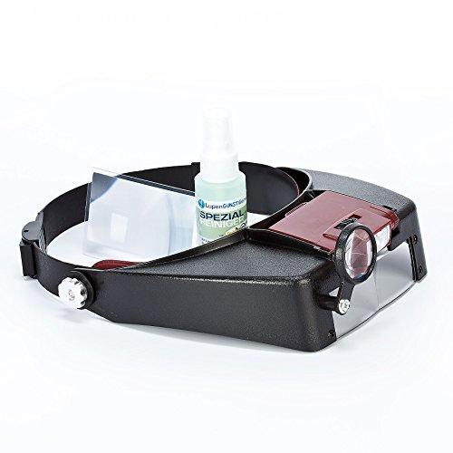 GOLDIFLORA OPTICS - MG 81007-A - KOPFBANDLUPE MIT 2 LED LAMPEN (VERSTELLBAR) - INKLUSIVE BATTERIEN - INKLUSIVE 1x MIKROFASERTUCH - INKLUSIVE 1x SCHECKKARTENLUPE - GRATIS (ZUBEHÖR IM UVP-WERT VON ca. 7,00 EURO - GRATIS)