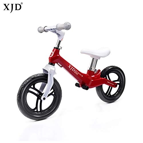 XJD Ultralight Balance Bike (4.8 lbs) for Ages 1.5 to 5 Years Magnesium Best Sport Push Bicycle for 2, 3, 4 Year Old Boys & Girls Toddlers Kids Skip Tricycles on The Lightest First Bike (red)