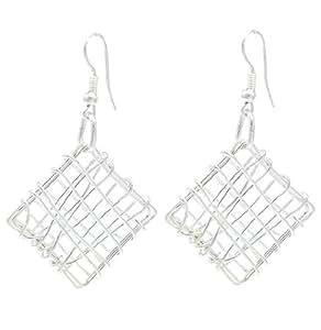 Plateado plata pendientes de alambre cuadrado contemporáneo