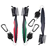 Awpeye 3 Pack Golf Club Brush and Groove Cleaner with Retractable Clip, Red, Silver, Green