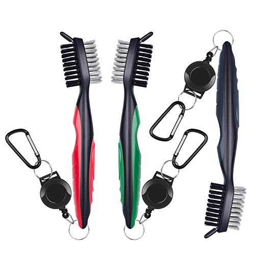 Awpeye 3 Pack Golf Club Brush and Groove Cleaner with Retractable Clip, Red, Silver, Green by Awpeye