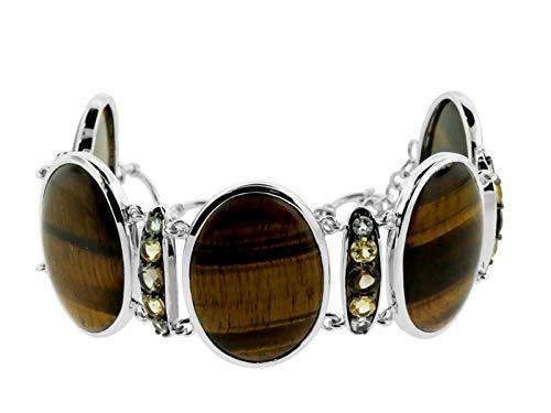 Women's Sterling Silver Tiger Eye, Smoky Quartz, Citrine & White Topaz Bracelet, Multi, 8.5
