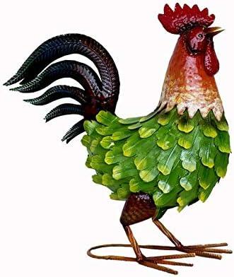 Keyhome - Estatua decorativa de jardín, estatua de hierro coloreado, gallo rojo y verde animal, artículo decorativo - Altura 39 cm: Amazon.es: Hogar