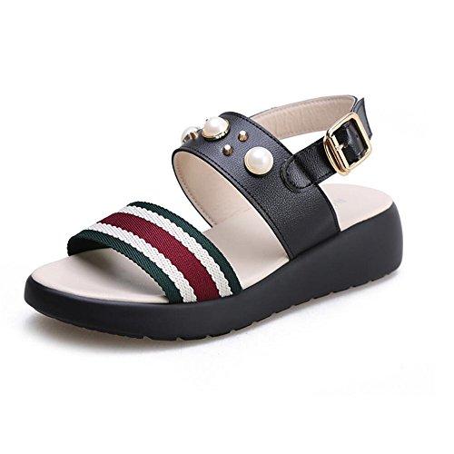 Sandalias femenino Verano espeso pendiente con sandalias Negro