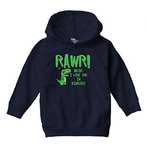 (Tcombo Rawr Means I Love You In Dinosaur - Toddler Little Boy Hoodie Sweatshirt (5T, Navy)
