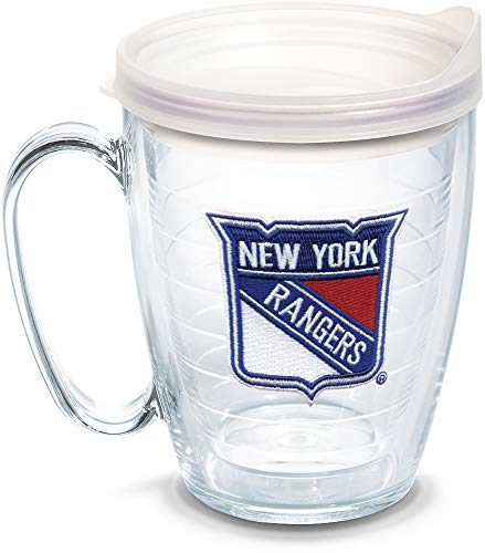 Coffee Mug Rangers (Tervis 1062515 NHL New York Rangers Primary Logo Tumbler with Emblem and Frosted Lid 16oz Mug, Clear)