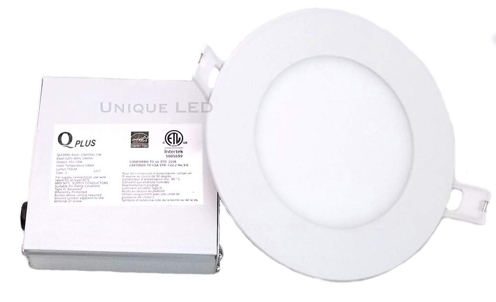 Qplus, Pack of 20: 4 LED Pot Light, 10 Watt 750 Lumens, 5000K, Dimmable, Safe for Wet Locations, 50 000 Hours, Energy Star Certified, cETLus Listed, Type IC Rated, CSA USD Approved. 5 Year Manufacturer Warranty. (20, 5000K Daylight White)
