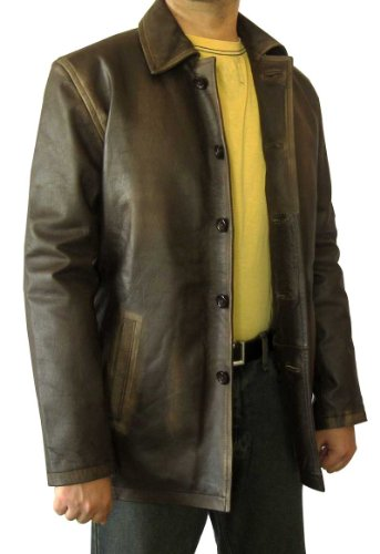 Real Leather SN Super Distressed Brown Leather Jacket Coat (XL)