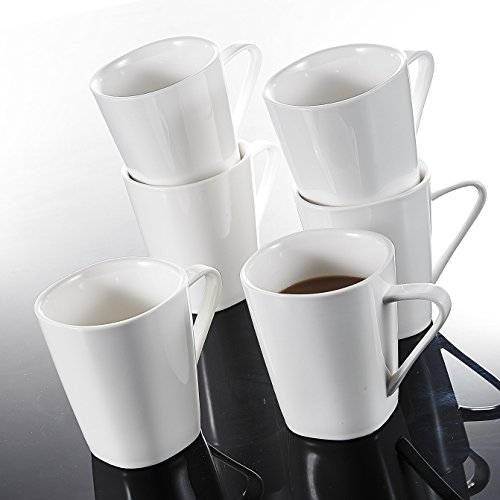 Malacasa, Series Joesfa, 6-Piece 12 Ounce Ivory White Porcelain Cups China Ceramic Cream White Mugs(Set of 6)