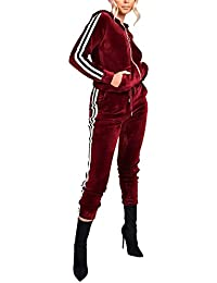 Women's Hoodie Zip Up Jogging Long Sleeve+Long Pants Velour Striped Tracksuit Set With Pocket