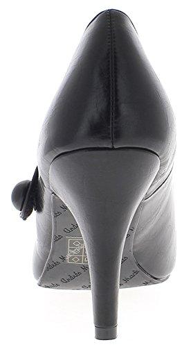 ChaussMoi Scarpe Grandi Dimensioni Neri Tacchi Sottili di 10cm di Cuoio Lucido con Flangia