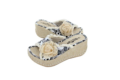 Helens Heart Ladies Casual Wedge Shoe with Grey and Skull Pattern - Pts Coffee
