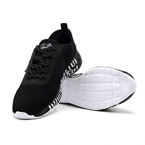 Hombres Respirable Mesh Zapatos corrientes al aire libre Zapatilla de deporte Negro Negro