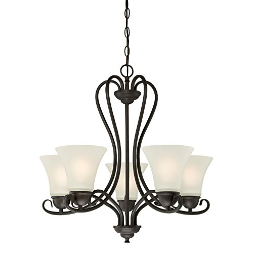 Westinghouse Lighting 6305700 Dunmore Five-Light Indoor Chandelier, Oil Rubbed Bronze Finish with Frosted Glass, 5