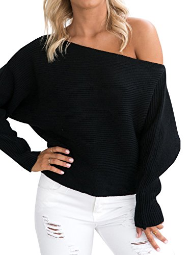Black Sweater Top (Simplee Women's Casual Off Shoulder Bat Long Sleeve Pullover Knitted Sweater Jumper,Black,One Size)