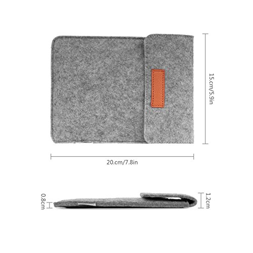 MoKo Sleeve for Kindle Paperwhite/Kindle Voyage, Protective Felt Cover Case Pouch Bag for Amazon Kindle Paperwhite/Voyage/Kindle(8th Gen, 2016) / Kindle Oasis 6-Inch E-Reader, Dark Gray