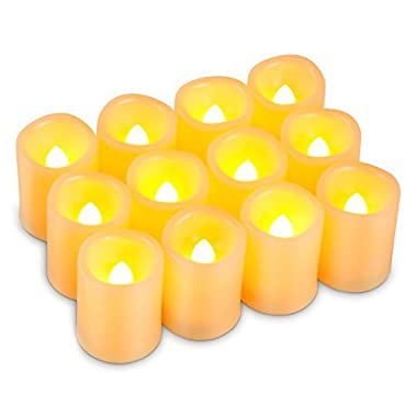 Kohree Timer Votive Flameless Candles, Unscented Battery Operated Candles, 6-Hours-Cycle Timer, Set of 12 LED Pillar Candles