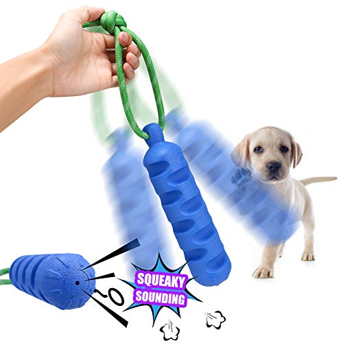 YUEJING Durable Dog Chew Toys, Interactive Squeaky Dog Training Toy On A Rope, Indestructible Squeaky Dog Bone-Shaped Pet Chew Toy for Medium Large Dog, Natural Rubber Non-Toxic ()