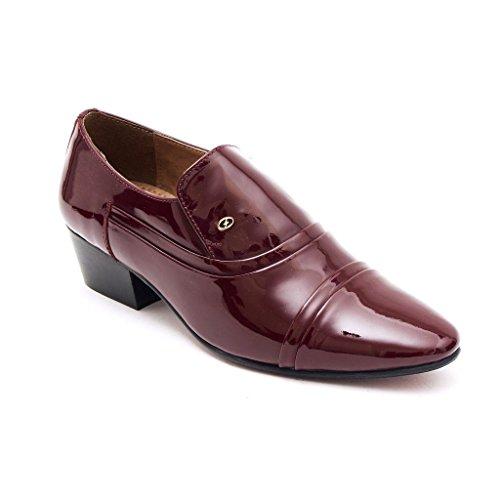 Lucini Formal Mens Cuban Heels Real Leather Slip On Wedding Shoes Bordo Patent[Men UK 10 EU - Uk Bordo