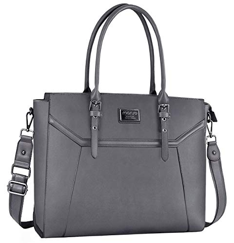 MOSISO Laptop Tote Bag for Women (Compatible 15.6-17 Inch MacBook&Notebook), Premium PU Leather Business Work Travel Shoulder Handbag with Thick Shockproof Compartment&Adjustable Top Handle, Gray