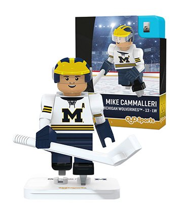 ines Mike Cammalleri Hockey Minifigure, Black, Small (Michigan Hockey Stick)
