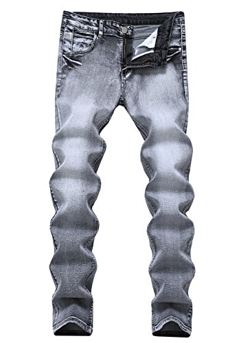 FEESON Men's Light Grey Vintage Elastic Washed Regular Slim Fit Jeans Outfit Pants (Old Navy Loose Fit Jeans)