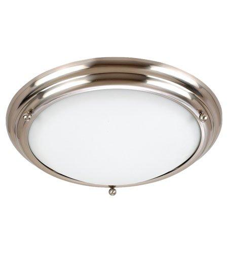 White Glass Satin Brushed Stainless - Sea Gull Lighting 79097BLE-98 3-Light Centra Fluorescent Flush Ceiling Fixture, Satin White Glass and Brushed Stainless