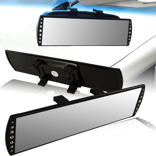 Universal 300mm Wide Flat Surface Interior Clip-on Panoramic Rear View Mirrors w/ Jeweled sides ()