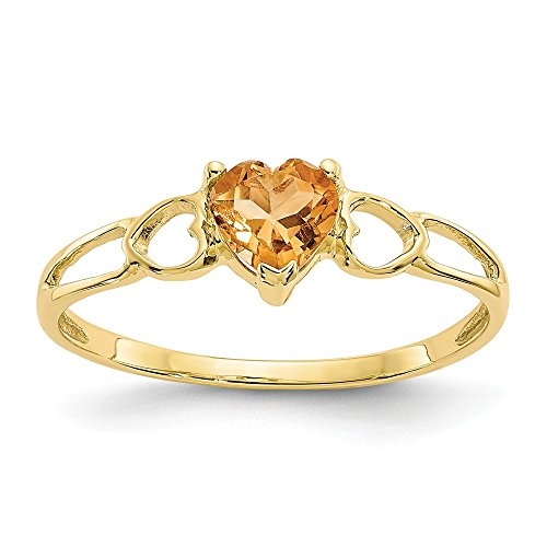 10k Yellow Gold 0.40CT Heart Genuine Citrine Anniversary Promise Ring Size 6