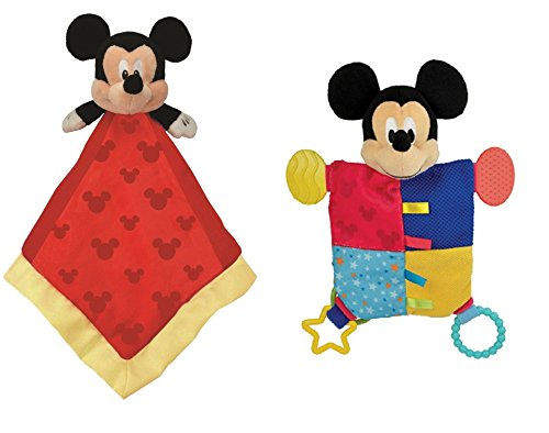 Disney Baby, Mickey Mouse Snuggle Blanky + Flat Blanky Teether Bundle Set (Mickey Mouse) ()