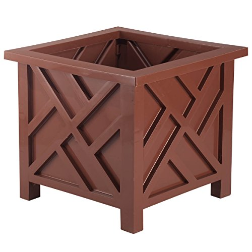 - Chippendale Planter Box, Brown - Plant Holder for Garden, Patio and Lawn - 14 ¾
