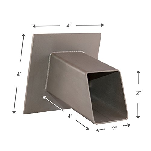 Gallant 2'' Square Water Feature Spout Emitter Spillway Scupper for Pools, Ponds, Water Walls, Fountains - Silver Metallic