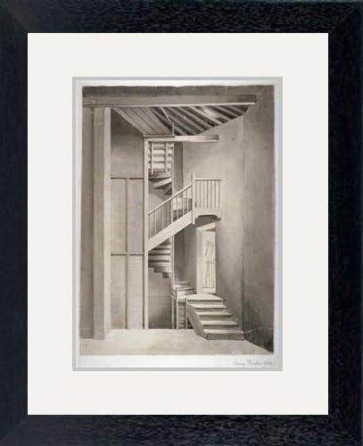 Cuadro de vista interior de la escalera en Surrey teatro de Blackfriars Road, Southwark, Londres, 1810. Artista: Clarkson Stanfield, negro, Overall size : 16.5