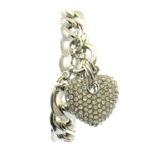 (Crystal Pave Puffy Chunky 3-D Heart Charm Toggle Bracelet Adjustable Silver Clear)