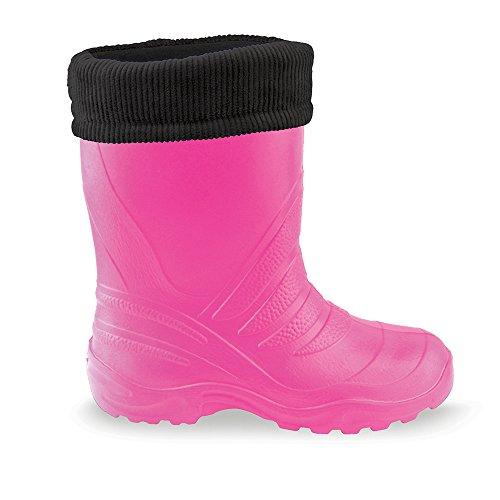 KREXUS Kinder Eva Gummistiefel Dublin II Gefüttert und Leicht - Verschiedene Farben Pink - Schwarz