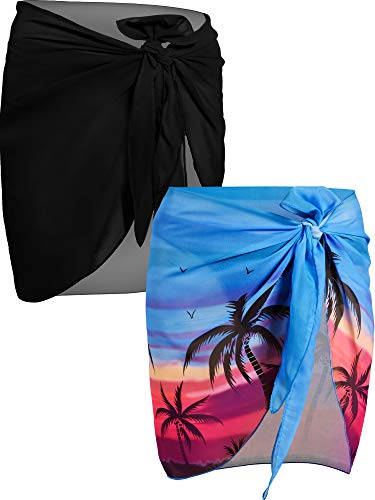 Chuangdi 2 Pieces Women Beach Wrap Sarong Cover Up Chiffon Swimsuit Wrap Skirts (Black and Blue Coconut Palm, Short)