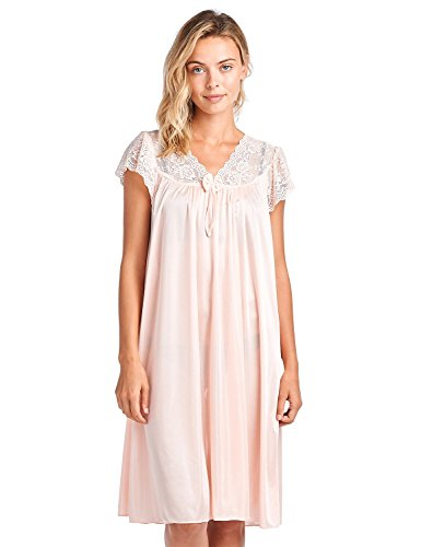 a716ee6e47 Casual Nights Women s Fancy Lace Neckline Silky Tricot Nightgown - Coral -  Medium