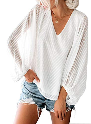 Dokotoo Womens Solid Plus Size Winter Layered Mesh Balloon Long Sleeve V Neck Casual Loose Fit Blouses Fashion Tops Fashion T-Shirts for Womens Ladies White - Tee Ladies Long Layered Sleeve