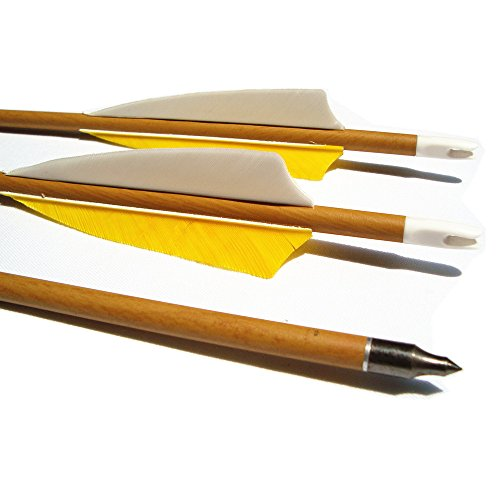 Archery Carbon Arrows,MS Jumpper Wood Grain[Carbon Fiber Shaft] Arrow Spine 500 For Hunting/Targeting Fletching 4