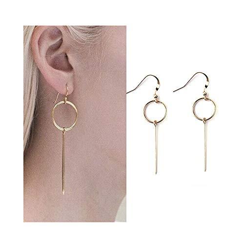 JczR.Y Simple Circle Bar Stick Dangle Hook Earrings Retro Geometric Round Bar Strips Earrings for Women Fashion Tassel Ear Jewelry (Gold)