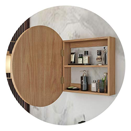 Mirror cabinet Bathroom Round Wooden Bathroom Wall-Mounted Rack Bedroom Dressing Table Wall-Mounted Mirror with Storage Cabinet Beautiful and Durable