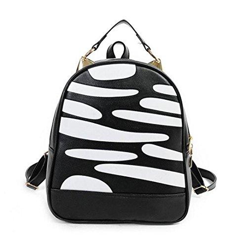 Clode® Estampado de cebra de mochila de viento nuevo de la Universidad de las mujeres bolso bolso mochila de la escuela Negro