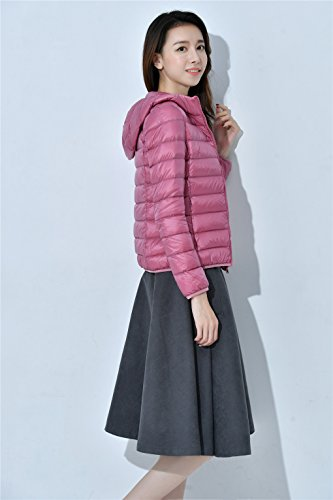 Rui Tops Hooded Puffer Winter Lightweight Down Women's Pink Down Packable Jacket Warm YY Coat dwEHq7d