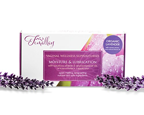 Femallay Softly Lavender Vitamin E Vaginal Suppositories for Personal Moisturizing & Wellness with Organic Coconut Oil + Vitamin E + Other Botanical Ingredients, Box of 14 + Vaginal Applicator