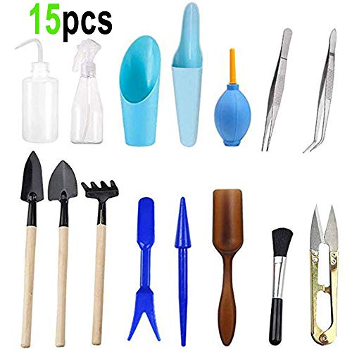- Wesdxc 15 Pieces Succulent Plants Tools, Mini Garden Hand Tools Transplanting Tools Miniature Planting Gardening Tool Set for Indoor Miniature Fairy Garden Plant Care