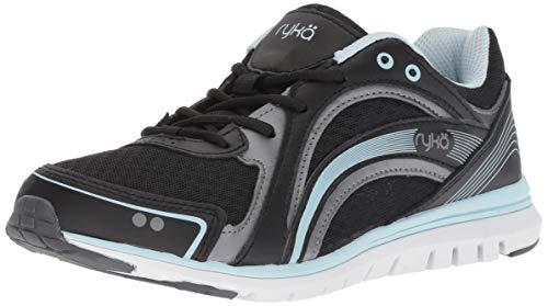 (Ryka Women's Aries Walking Shoe, Black/Grey/Blue, 7 W US)