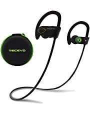 TECEVO® S4 Sports Wireless Bluetooth Headphones IPX7 Sweatproof In-Ear Sport Earbuds With Earhook Secure Fit HD Stereo Sound 8-Hour Playtime and CVC 6.0 Noise Cancellation Builtin Mic Ideal for Hiking, Running, Workout, Gym etc.